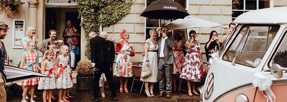 Guests at the intimate wedding venue in Bristol