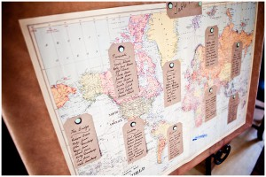 Map for travel themed wedding