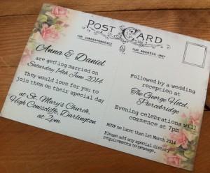 Postcard for Travel themed wedding invite